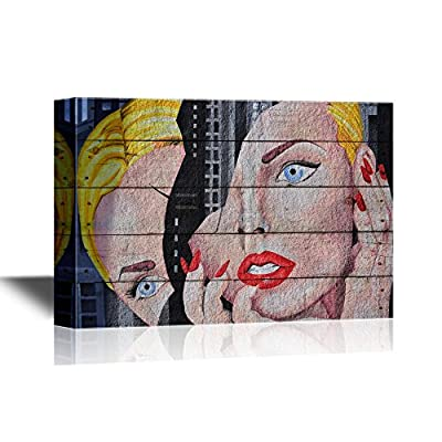 Abstract Graffiti with Woman's Face in Two Parts 12x18
