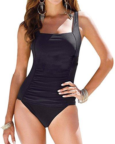 Tempt Me Women One Piece 50s Vintage Ruched Monokini Getaway Swimsuits Black XXL