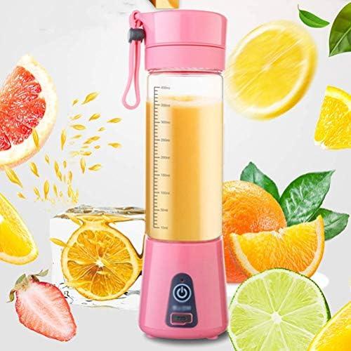 Licuadora Taza Juicer Pequeña Mezcladora de Frutas Al Aire Libre Máquina Extractora de Frutas Portátil Hogar Usb Recargable 6 Cuchillas 400 Ml, O&YQ