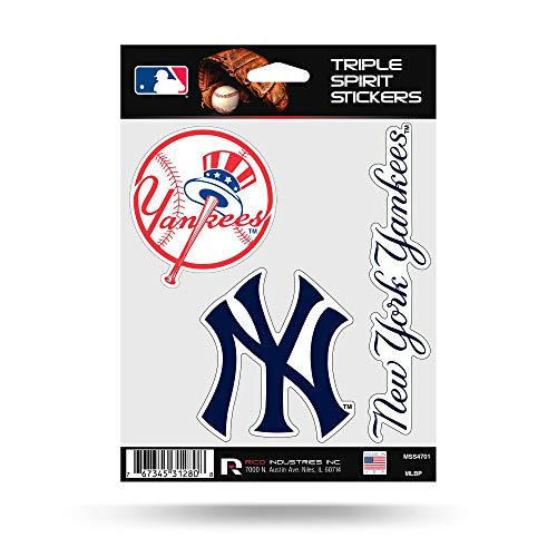 New York Yankees Decal - Rico Industries New York Yankees Triple Sticker Multi Decal Spirit Sheet Auto Home Baseball