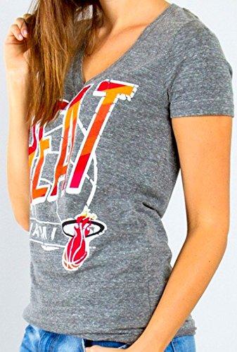 Miami Heat Women's NBA Deep V-Neck Slim Fit T-shirt (Medium)