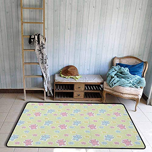Pet Rug,Nursery Baby Toy Drawing Pattern with Soft Colored Teddy Bears and Wildflowers,Anti-Slip Doormat Footpad Machine Washable,4'7