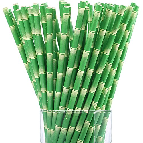 Maxdot Biodegradable Bamboo Print Paper Drinking Straws for Juices, Shakes and Smoothies, Party Supplies (150 ()