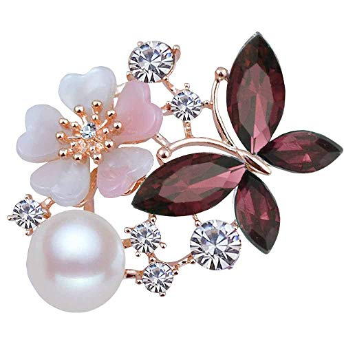 La Espoir Butterfly Flowers Pearl Rhinestone Ruby Brooch Sapphire Jewelry for Party (Red)