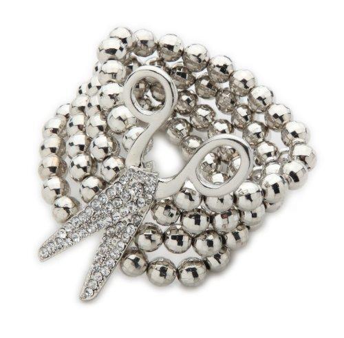 Silver Tone Scissor Multi-Row Bead Stretch Bracelet
