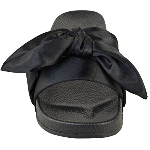 Moda Sete Womens Arco Nodi Cursori Appartamenti Raso Pantofole Casual Scarpe Nuova Dimensione Nero Raso / Nodo Cravatta