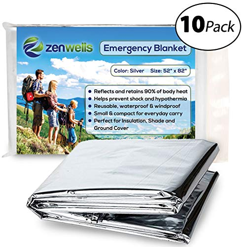 Emergency Mylar Thermal Blanket 10 Pack; Space Blankets Designed for NASA, Perfect Survival Gear for Adults and Kids, Equipment for Earthquake Preparedness Kit, Outdoors, Bug Out Bags, First Aid Kit by Zenwells