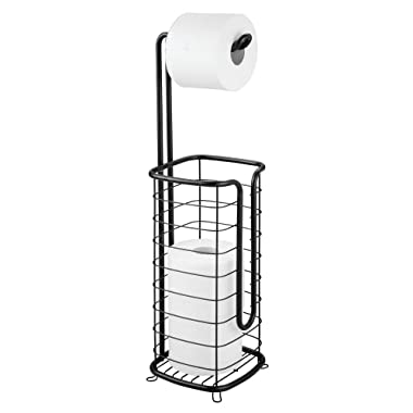 mDesign Free Standing Toilet Paper Holder Stand and Dispenser, with Storage for 3 Spare Rolls of Toilet Tissue While Dispensing 1 Roll - for Bathrooms/Powder Rooms - Holds Mega Rolls - Black
