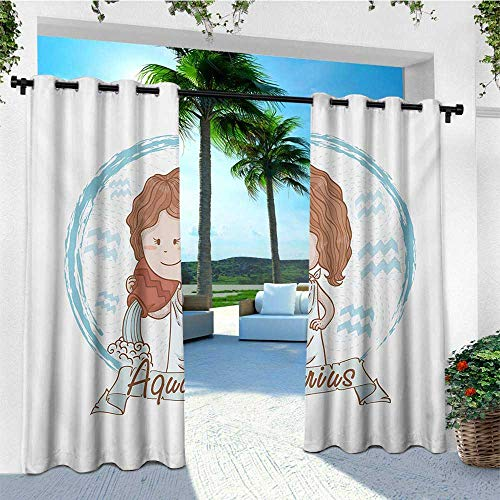 Toile Bucket - leinuoyi Zodiac Aquarius, Outdoor Curtain Extra Long, Little Astrology Girl with a Bucket Birthday Horoscope Character, Outdoor Curtain Set for Patio Waterproof W120 x L108 Inch Cinnamon Pale Blue
