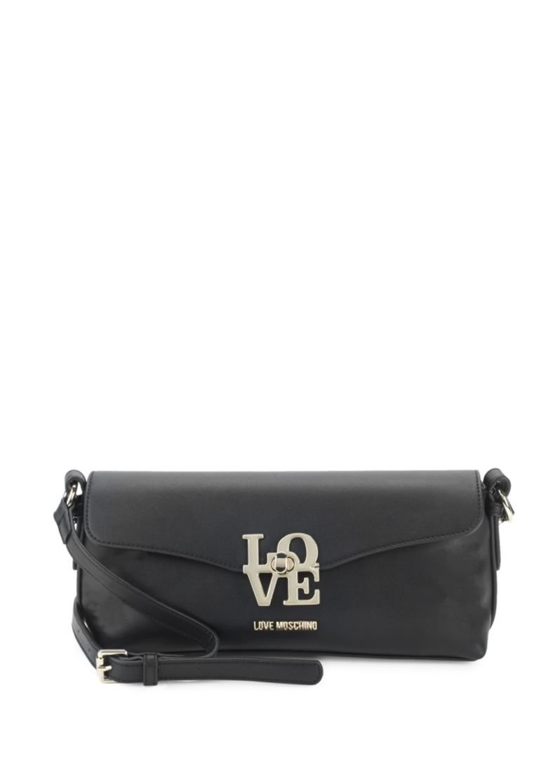 Love Moschino Love-Lock Faux Leather Shoulder Bag - Black