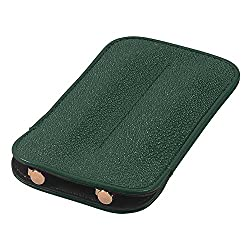 Leather Double Pen Sleeve, Genuine Stingray Leather, Dark Green, Fits 2 Pens
