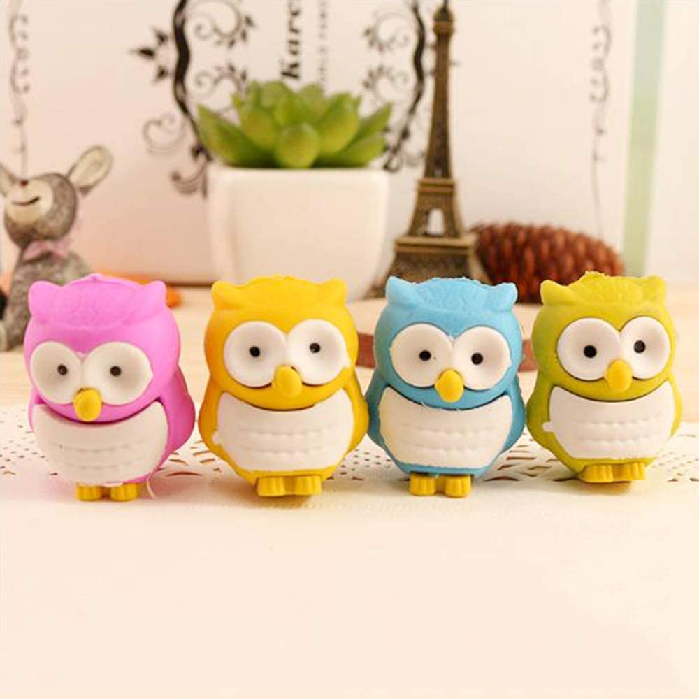 yyuezhi Creative Owl Eraser Cute Cartoon Owl Eraser Durable Owl Eraser for Children Birthday Favours for Kids Party Bag Filler Thank you Gift Christmas Present for Girls Boys Students (12 Pieces)