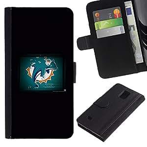 KLONGSHOP // Tirón de la caja Cartera de cuero con ranuras para tarjetas - Dolphin Grunge - Samsung Galaxy Note 4 IV //