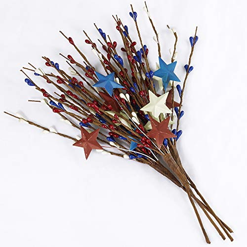 4 Pack Artificial Patriotic Pip Berry Spray with Metal Star Burgundy Blue Ivory Primitive Americana Pip Berry Picks Rustic Pip Berry Stems 11.6 Tall for 4th of July Memorial Day Decoration