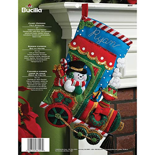 - Bucilla 18-Inch Christmas Stocking Felt Applique Kit, 86147 Candy Express