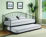Twin Size Matt Black Metal Day Bed Frame With Pop-Up High Riser Trundle, Headboard, Footboard, Rails & Slats (Twin Daybed & Trundle)