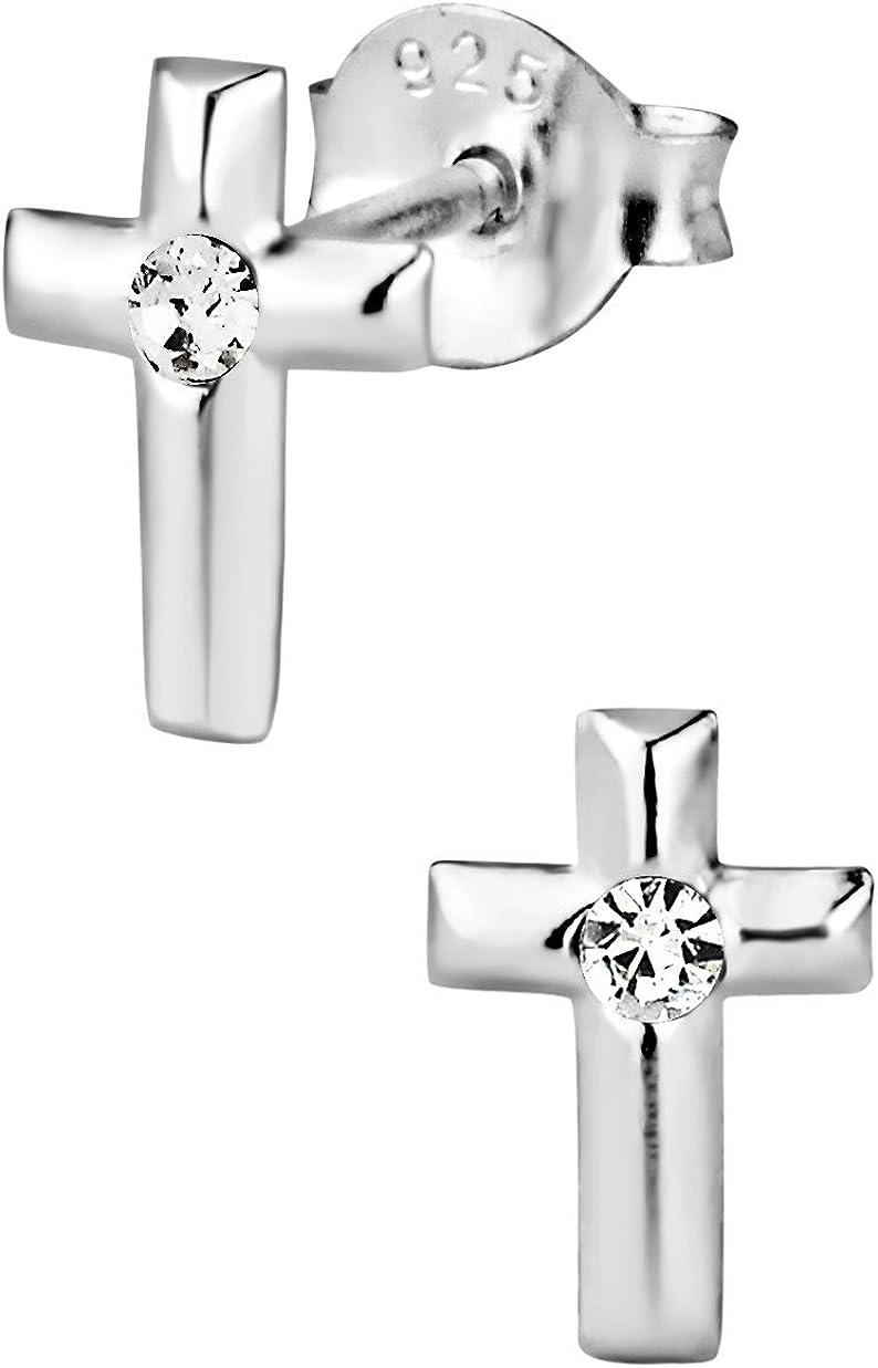 Hypoallergenic Sterling Silver Crystal Cross Stud Earrings für Kids (Nickel Free)