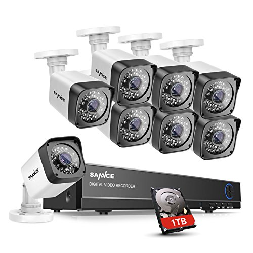 SANNCE 8CH 1080N Security Camera Video DVR with 1TB Hard Drive and (8) 720p HD Weatherproof Surveillance Security Camera System with Remote Access, Motion Detection by SANNCE