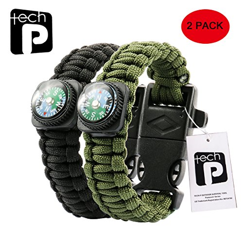 TECH-P Survival Gear Paracord Bracelet Compass Fire Starter