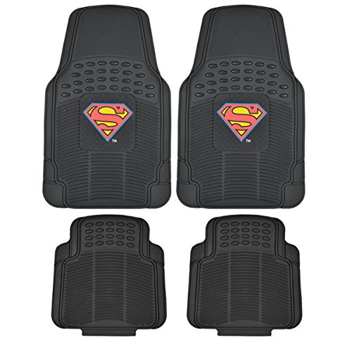 Superman Rubber Car Floor Mats 4 PC Front Heavy Duty All Weather Protection - Trimmable To fit