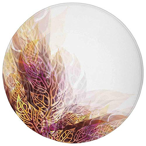(YVSXO Round Rug Mat Carpet,Modern Art Home Decor,Psychedelic Floral with Blurry Leaf Visuals and Dynamic Effects,Golden Purple,Flannel Microfiber Non-Slip Soft Absorbent,for Kitchen Floor Bathroom)