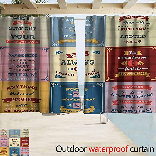 Wakefield Curtain - Quote Outdoor Blackout Curtain Collection of Motivational Quotes Success Positive Attitude Themed Artwork Print Waterproof Patio Door Panel W55 xL45 Pink Yellow