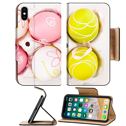 MSD Premium Apple iPhone X Flip Pu Leather Wallet Case Easter decoration Background with colorful eggs isolated on white space for text Image ID 27031147
