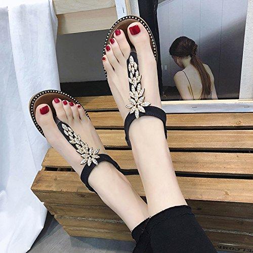 black semplice Fashion leaves estate con Wild marrone 4 ITTXTTI femmina sandali piatto 38 Lazy MS drill quadrato infradito Wear pantofole BIwHq