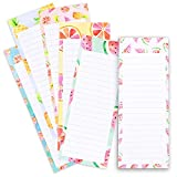 to-do-List Notepad - 6-Pack Magnetic Notepads, Grocery List Magnet Memo Pad for Shopping, to Do List, Reminders and More, Colorful Fruit Designs, 60 Sheets Per Pad, 3.5 x 9 Inches
