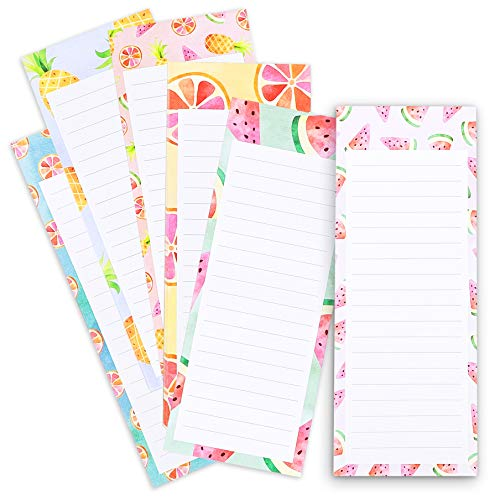 Juvale 6-Pack To Do List - Magnetic Notepads for Fridge, Grocery Shopping, and Reminders, Colorful Fruit Designs, 60 Sheets Per Memo Pad, 3.5 x 9 Inches (Fridge Memo Pad)