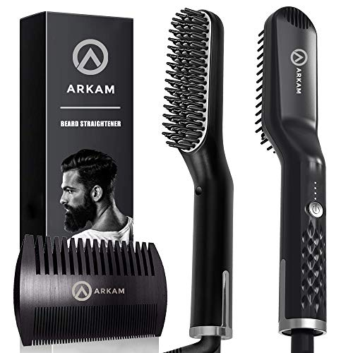 Arkam Premium Beard Straightener for Men - Cutting Edge Ionic Beard Straightening Comb for Home  Travel, Volumizing Hair Straightener for Men  Women, Dual Voltage Revolutionary Beard Comb 110-240V