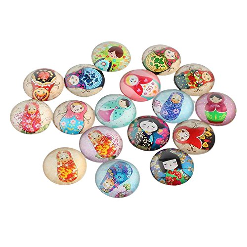 Pandahall 20PCS 10x4mm Mixed Russian Nesting Dolls Printed Dome Glass Cabochons, Half Round Flatback ()