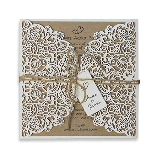 Rustic Wedding Invitations With Envelopes Floral Laser Cut
