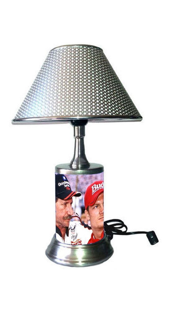Dale Earnhardt Lamp with chrome shade, Dale Earnhardt Sr and Jr