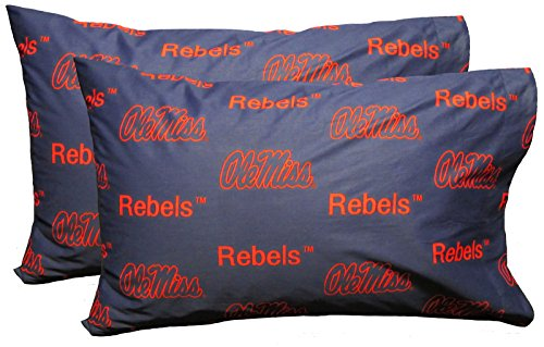 College Covers Mississippi Rebels Pair of Solid Pillowcase, Standard
