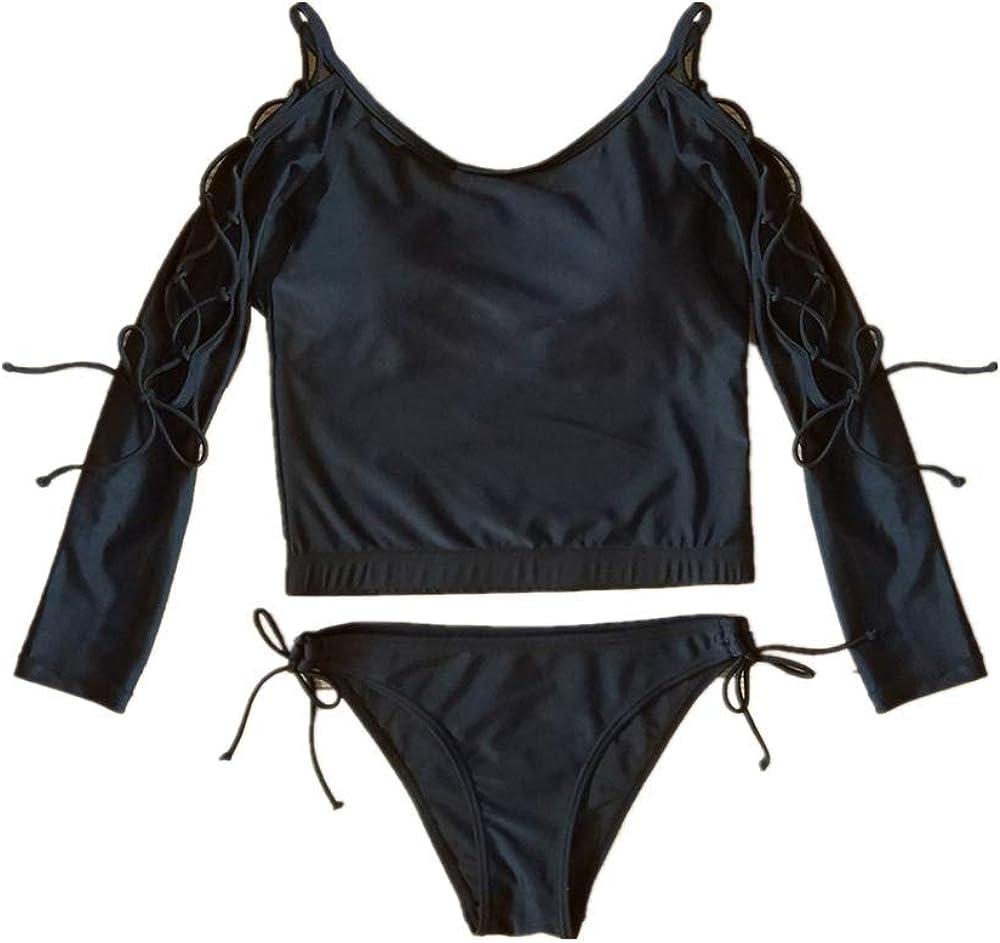 Traje de baño con cuerda y protector solar de manga larga EuropUPC y American Sexy Split Bikini de primavera caliente