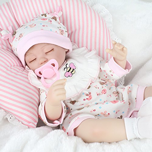 Kaydora 17 Inch Reborn Baby Lifelike Sleeping Dolls Girl Partner Huggable Soft Body Toy Reborn Baby Girl