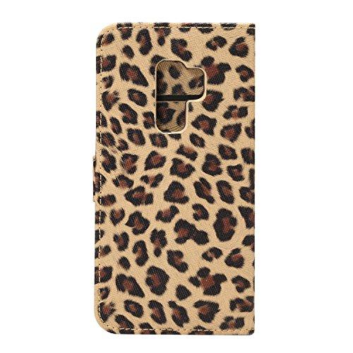 Brieftasche Hülle für Samsung Galaxy S9 Plus,Artfeel Luxury Leopard Druckmuster PU Leder Flip Tasche,Bookstyle Dauerhaft Stoßfest Stand Tasche mit [Kreditkartenfächer] [Magnetverschluss] Schutzhülle H Gelb