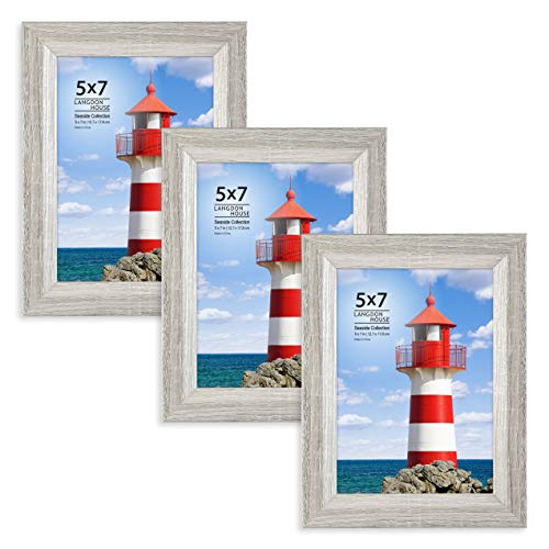 Langdons 5x7 Picture Frame (3 Pack, Gray), Sturdy Wood Composite Photo Frame 5 x 7, Wall Mount or Table Top, Set of 3 Seaside - Wood Frame 3x5