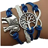 Vintage Style Blue and White Leather Rope Elephant Tree Branch Infinity Love Bracelet