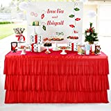 Red Tulle Tutu 6ft Table Skirt with 3 Tier Dust Ruffle Skirting for Round or Rectangular Table for Party, Meeting, Birthday, Wedding Decoration and Home Decor(L72Inch×H30Inch)