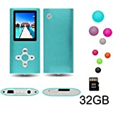 """RHDTShop MP3 MP4 Player with a 32 GB Micro SD card, Support UP to 32GB TF Card, Portable Digital Music Player/Video/Voice recorder/FM Radio/E-Book Reader, Ultra Slim 1.7"""" LCD Screen, Blue"""