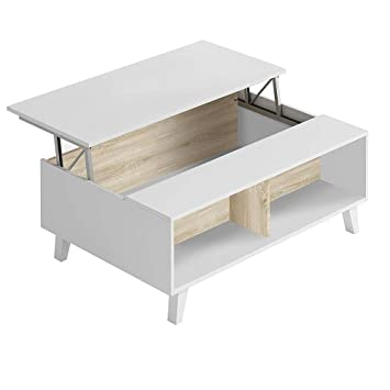 Hogar Decora Mesa De Centro Elevable Comedor Salon Blanco Brillo Y