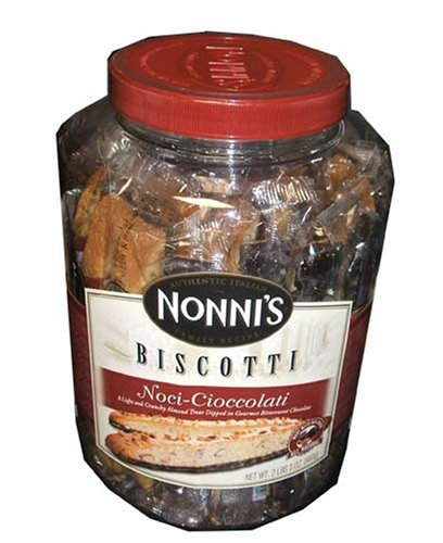 Nonni's Biscotti, Noci-cioccolati, a Light and Crunchy Almond Treat Dipped in Gourmet Chocolate-(2pound/3oz Tub) by Nonni's Food Company Inc.