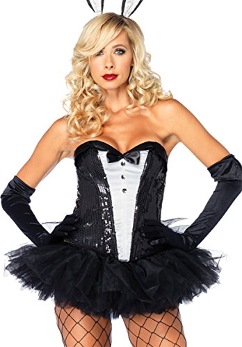 [Sequin Tuxedo Corset Costume - Large - Dress Size 12-14] (Tuxedo Mask Costume Sale)