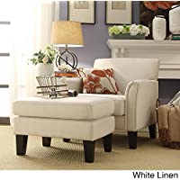 TRIBECCA HOME Uptown Modern Accent Chair and Ottoman White Linen