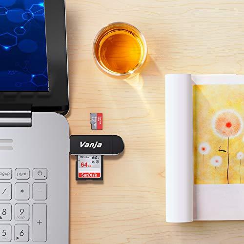 Vanja Lecteur de Carte Memoire, SD / Micro SD Lecteur de Carte et Micro USB OTG à USB 2.0 Adaptateur avec Standard USB Micro USB Connecteur pour PC, Notebook et Smartphone avec Fonction OTG