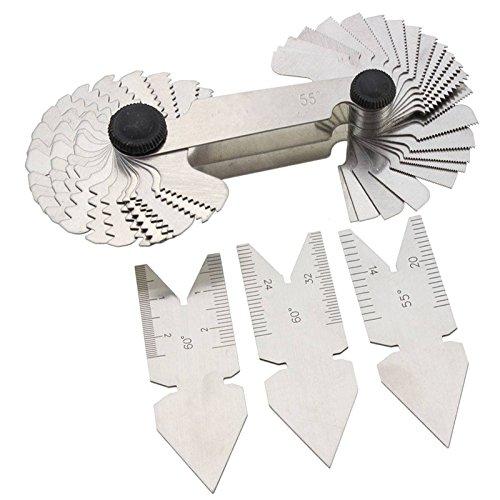 Exquisite Gewinde Gauge 55 Grad & Metrisches 60 Grad Zoll Edelstahl Gewinde Gauge Mess-Werkzeug