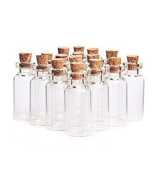 Botellas de mensajes de 5 ml vacías de pequeños viales transparentes decorativas botellas de cristal tarros