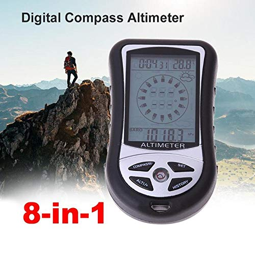 Procyon - Digital 8 in 1 Handheld Compass Barometer Altimeter Thermometer Weather Forecast Time Clock Calendar with Backlight Compasses - Clock Altimeter Compass